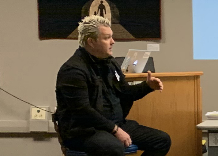 Anti-Flag drummer Pat Thetic answers questions in Shaler Area classroom