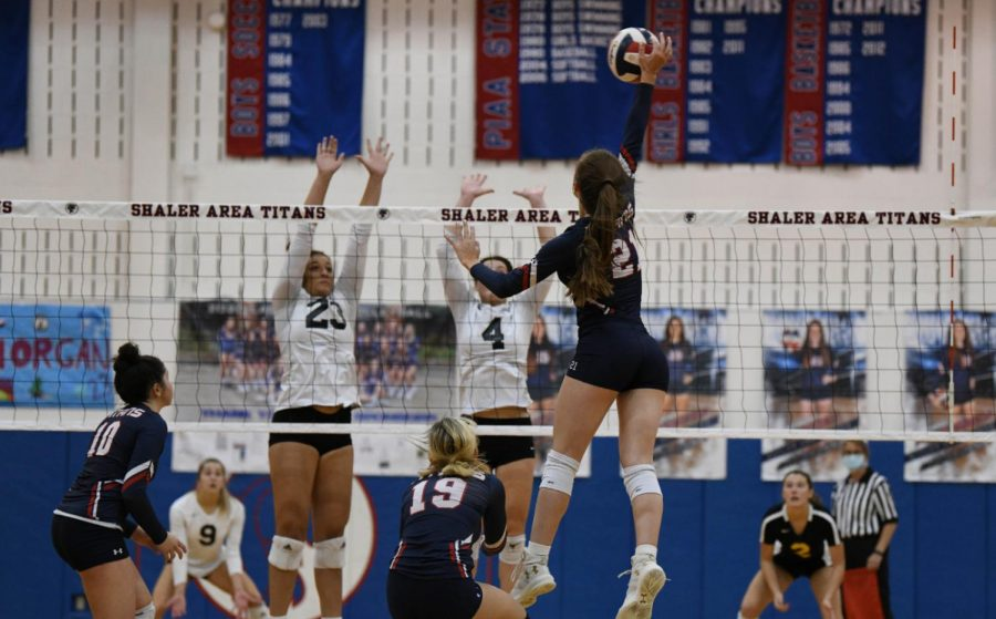 Allison+Yarnot+spikes+the+ball+against+North+Allegheny