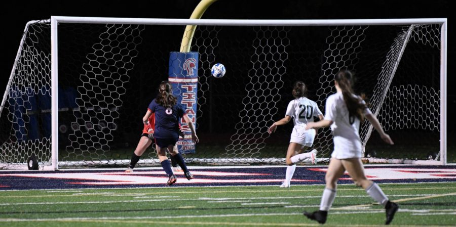 The girls soccer team puts a shot on goal against Pine Richland
