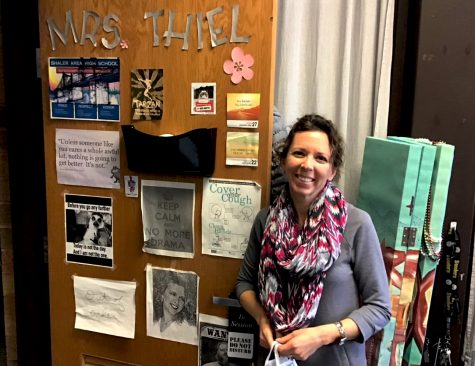 Shaler Area High School Activities Director Mrs. Mindy Thiel at her office door.