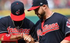 Two Cleveland Indians players wearing the now retired
