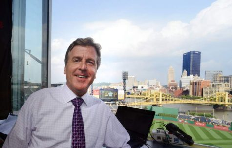Pirates play by play announcer Greg Brown in the booth at PNC Park