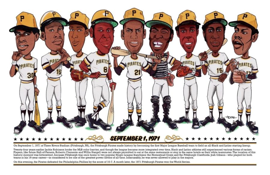 Jim Shearer's caricature art of the first all Black and Latino lineup in Major League Baseball