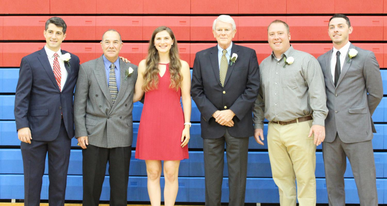 Class of 2021 Shaler Area Athletic Hall of Fame inductees: John Balouris, Eric Mozzetti, Bri Schwartz, Carlos Reisen, Dave Sibenac, and Ryan Mincher. Not pictured: Annie Bozzo.