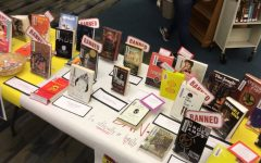 The Banned Books display in the library
